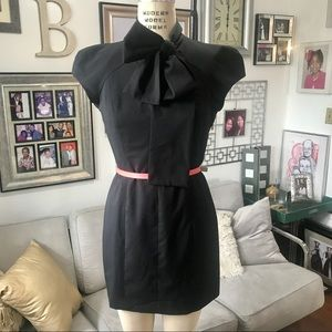 Black Mini Dress with Bow at Neck